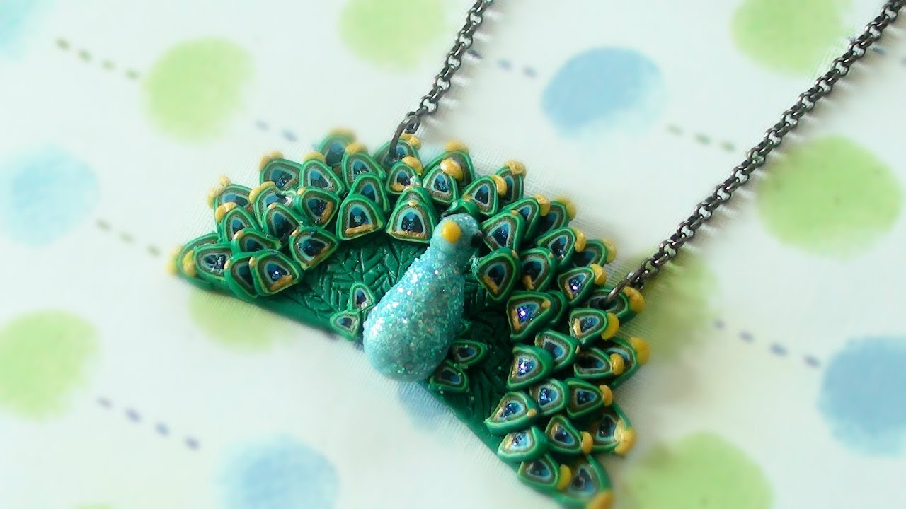Diy Peacock Necklace Polymer Clay Youtube