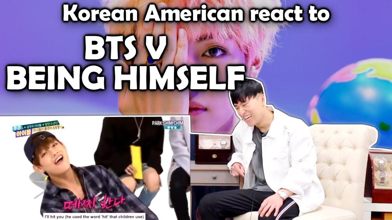 BTS V BEING HIMSELF (방탄소년단)(KOREAN AMERICAN REACTION)