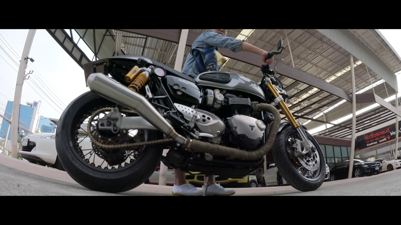 arrow 2:2 exhaust baffles removed - triumph thruxton 1200r - youtube