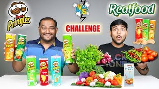 PRINGLES VS REAL FOOD EATING CHALLENGE   Pringles Potato Chips Eating Competition   Food Challenge