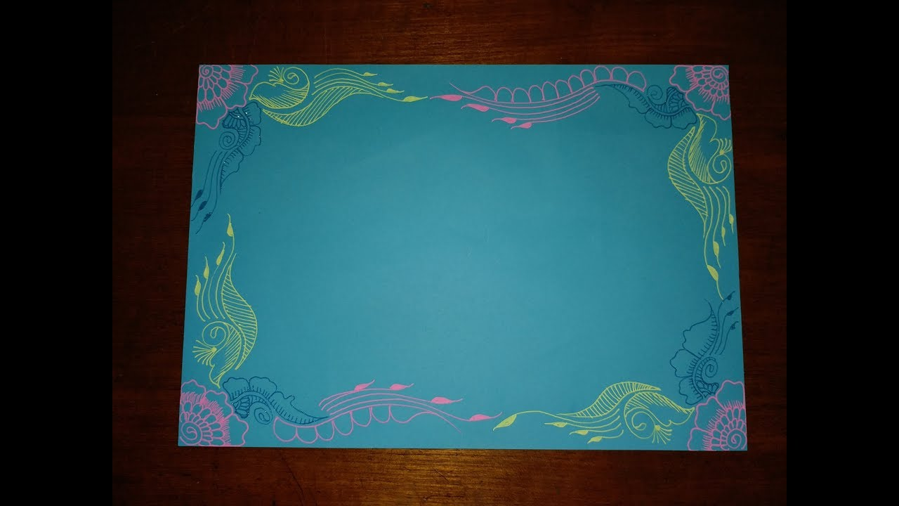 Diy simple easy  decorative border design for project file on color chart paper also rh youtube