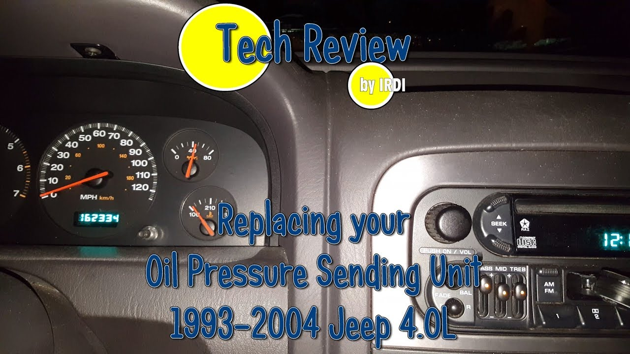 4.0L Jeep Oil Pressure Sending Unit Replacement - YouTube  Diagram Jeep Wiring Oilpressuresensor on