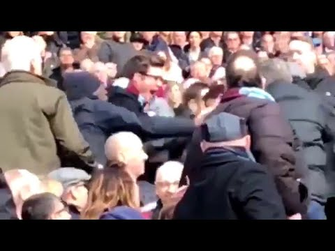 WEST HAM FANS FIGHT EACH OTHER IN CROWD - BURNLEY LOSS