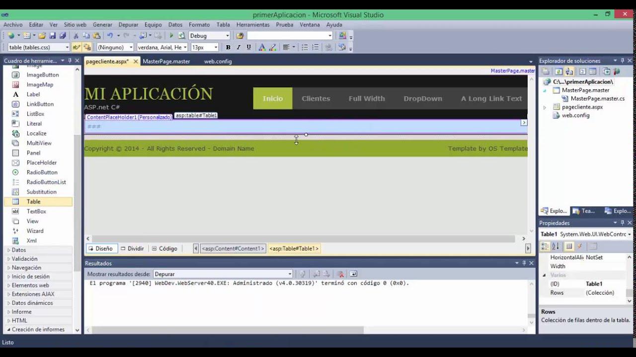 Página Web De Exploracionazul: Crear Sitio Web ASP.net C# Desde Cero Parte1