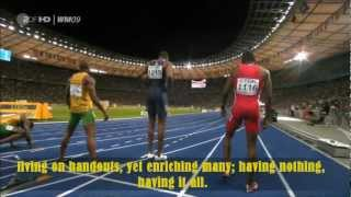 "Race of a Lifetime - Imagine your life as a 100m Final! To Fat Boy Slim ""Right here, right now"""