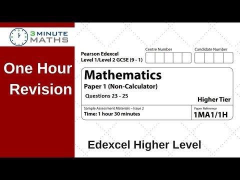 One Hour Revision - Edexcel GCSE Higher Maths Non Calc Questions 23 - 25
