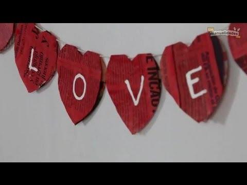 Adornos de San Valentín: guirnalda de corazones
