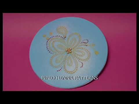 Piping Henna Sytle Designs On Cake Youtube