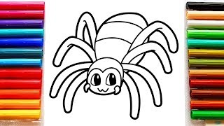 Coloring for Kids with Spider - Coloring Pages with Markers