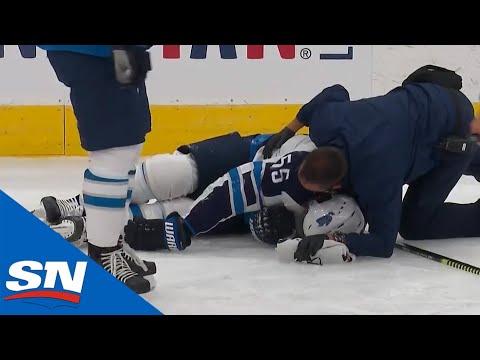 Mark Scheifele Injured Leaves Game After Awkward Collision With Matthew Tkachuk Youtube