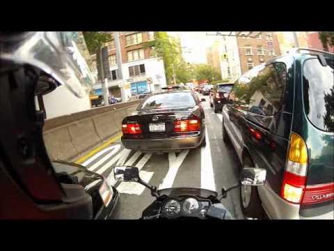 Lane Splitting Long Island City Queens over 59th Street Bridge to Manhattan