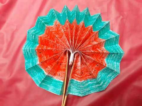 DIY paper craft | how to make diy paper hand fan|shans hobbies