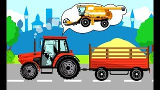 Tractor with Combine harvester and farm | Cereals and Potatoes - What machine?  Traktory Bajki