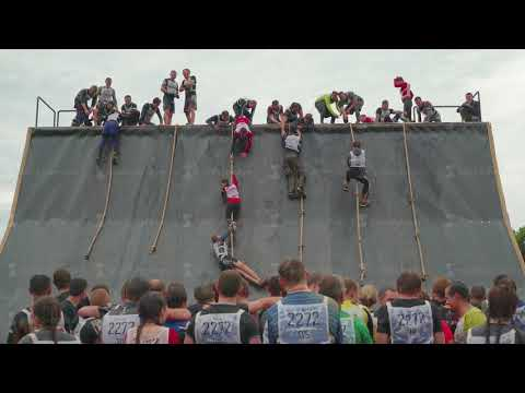 MOSCOW REGION - JUNE 10, 2017: Concept of team building group of guys and girls, men and women climb