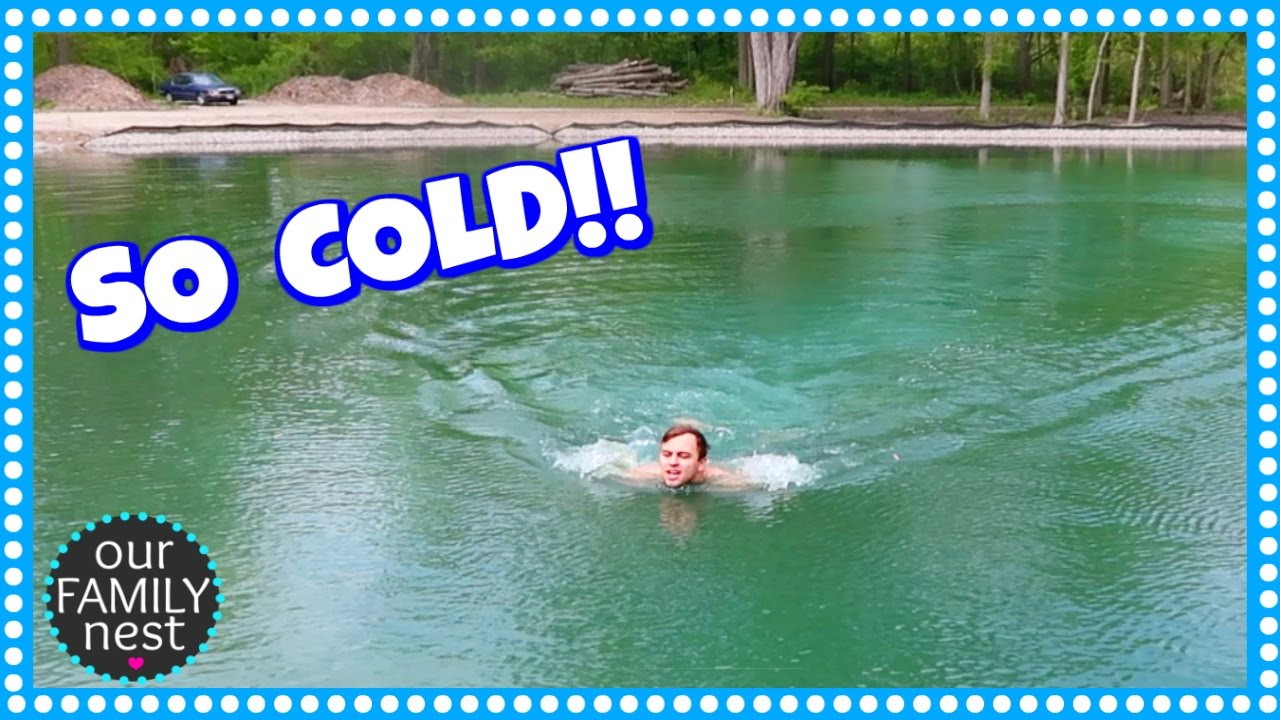 Why is he swimming in our freezing cold pond youtube for Koi pond freezing