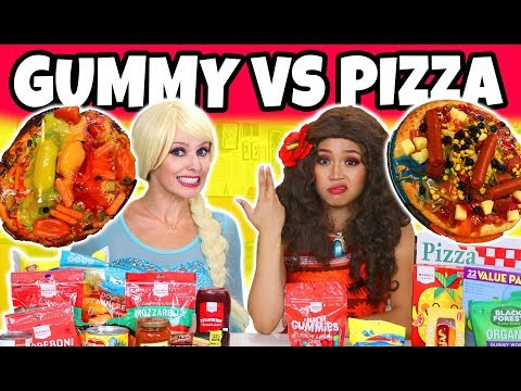 GUMMY VS REAL FOOD CHALLENGE Elsa vs Moana Characters 2018