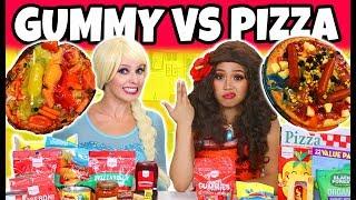 GUMMY VS REAL FOOD CHALLENGE. (Elsa vs Moana Characters) 2018