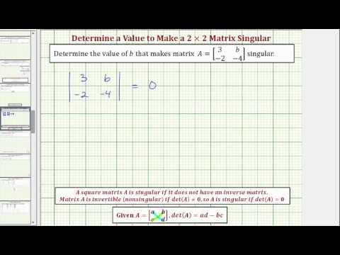 Singular Matrix (solutions, examples, solutions, videos)