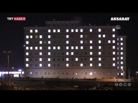 """Üniversite öğrencileri yurt binasını """"Afrin"""" yazısıyla ışıklandırdı"""