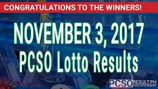 PCSO Lotto Results Today November 3, 2017 (6/58, 6/45, 4D, Swertres & EZ2)