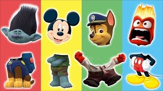 Wrong Heads Paw Patrol Trolls Mickey Mouse Finger Family Nursery Rhymes Song Colors for Kids
