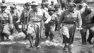 US General MacArthur commanding the assault on Leyte in World War II, accompanied...HD Stock Footage