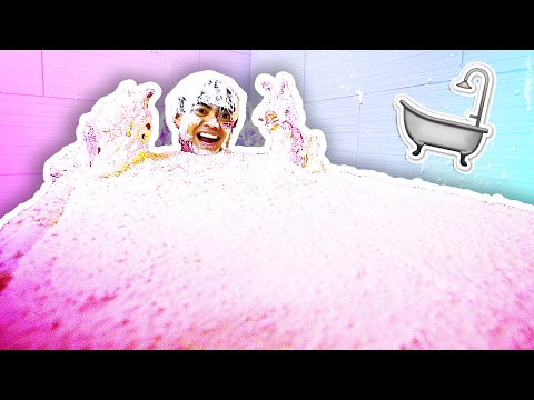 FLUFFY FLOAM SLIME BATH CHALLENGE!