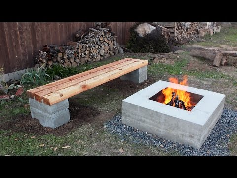 How to make outdoor concrete and wood bench
