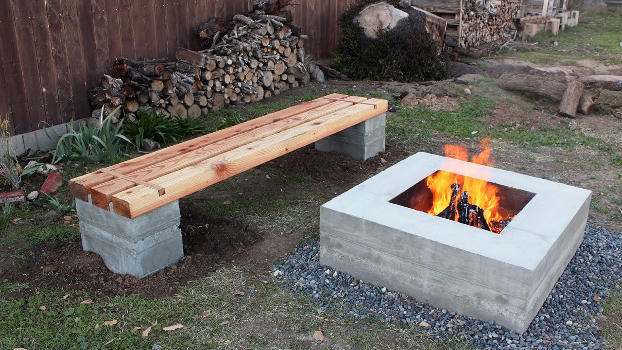 How to make outdoor concrete and wood bench youtube Fire pit benches