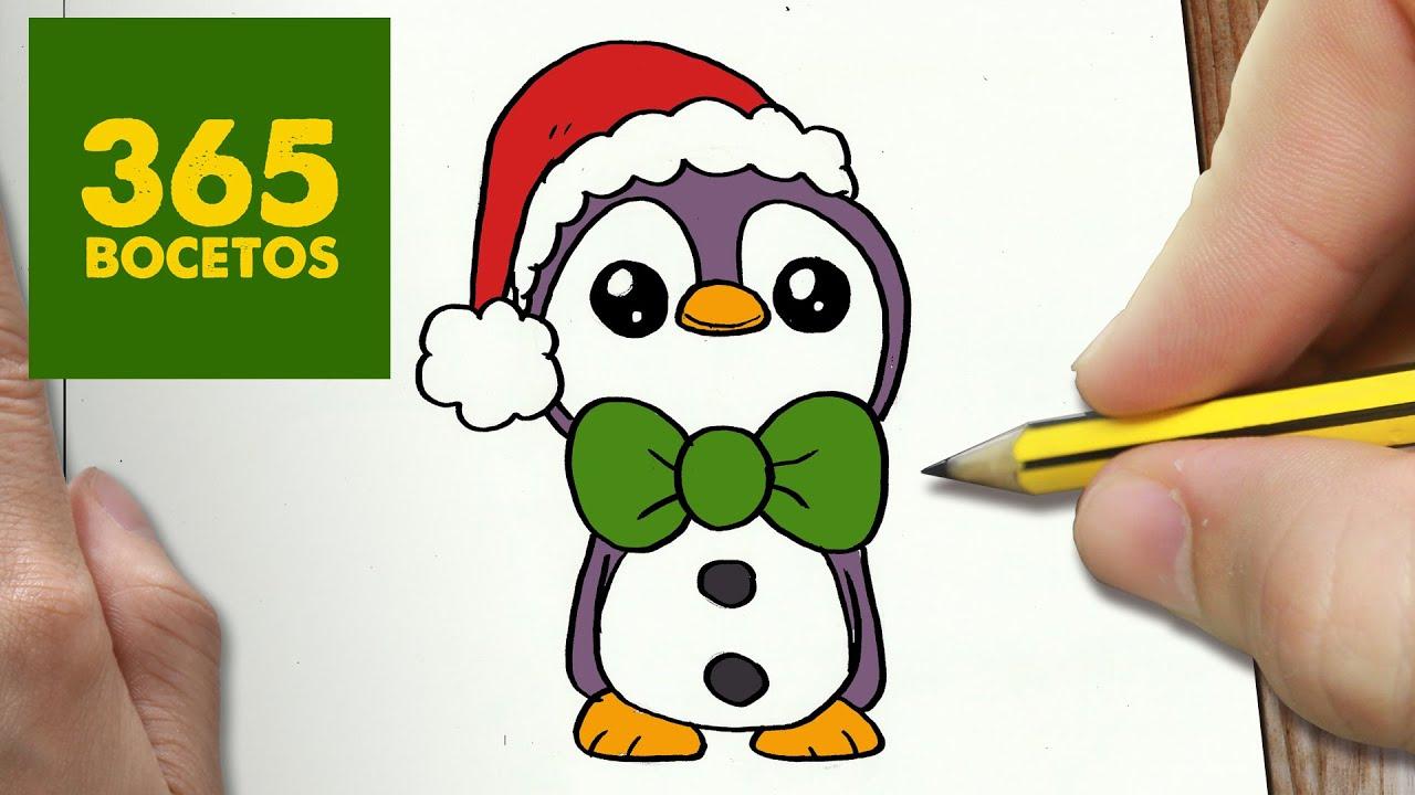 Como Dibujar Un Pinguino Para Navidad Paso A Paso Dibujos Kawaii Navideños How To Draw A Penguin