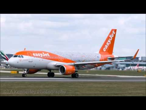 Manchester Airport Go Pro spotting. Easy Jet 20 years livery and Airbus A380!