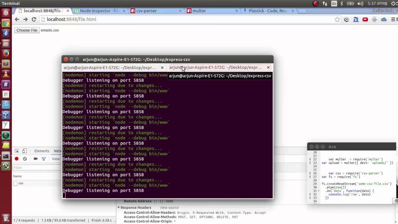node express js - multer, ajax uploading email csv file and parsing
