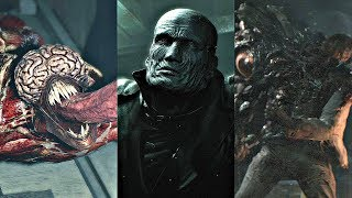 Resident Evil 2 Remake - All Bosses / Boss Fights + Final Boss u0026 Endings (HARDCORE MODE)