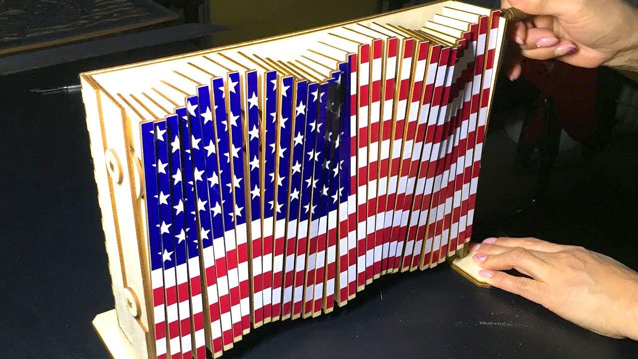 3 KG Wooden US Flag [Kinetic Sculpture]