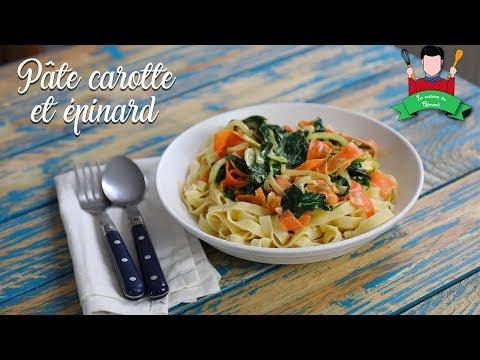 recette-des-pâtes-au-carotte-et-épinard-(lait-de-coco)