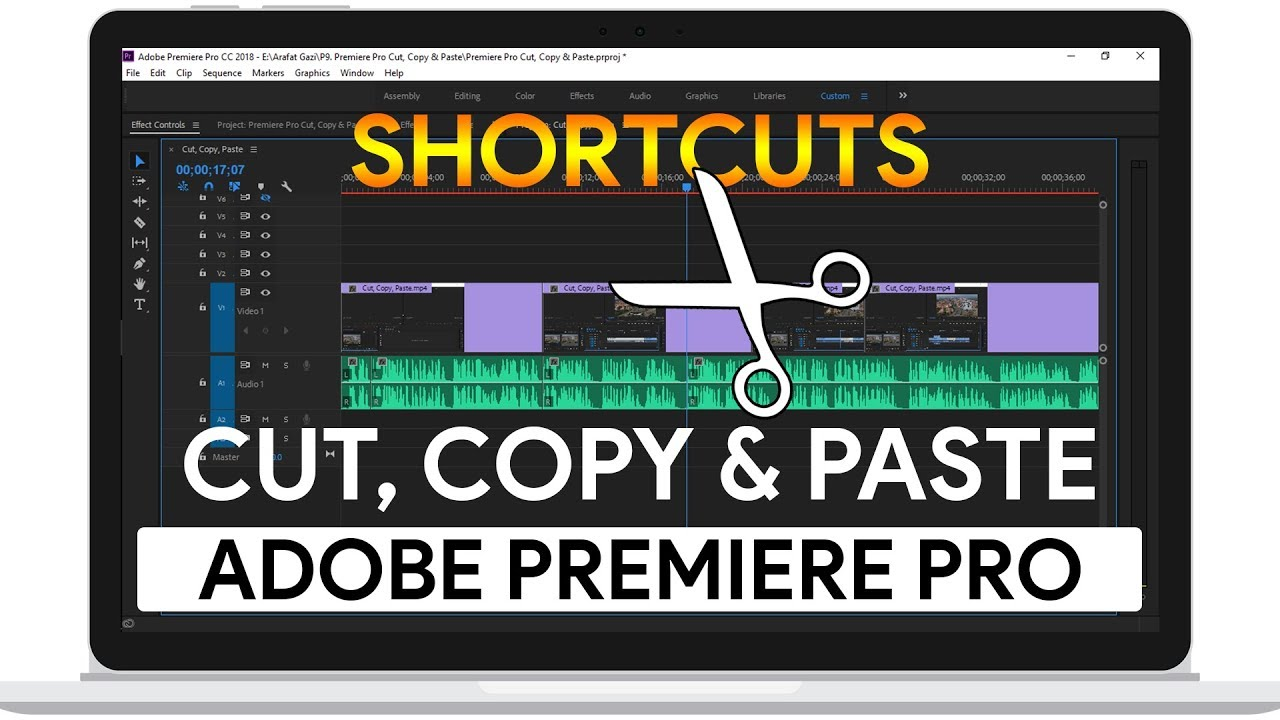 How to Cut, Copy & Paste Using Shortcuts | Adobe Premiere Pro CC Tutorial