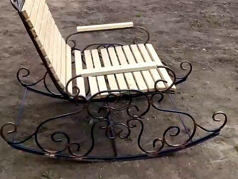 Кресло качалка холодная ковка