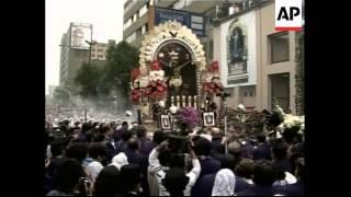 First major procession honouring el Senor de Los Milagros