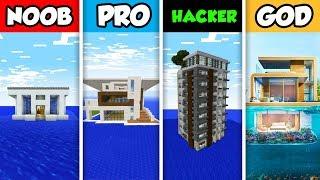 Minecraft NOOB vs. PRO vs. HACKER vs GOD: MODERN MANSION ON WATER in Minecraft! (Animation)