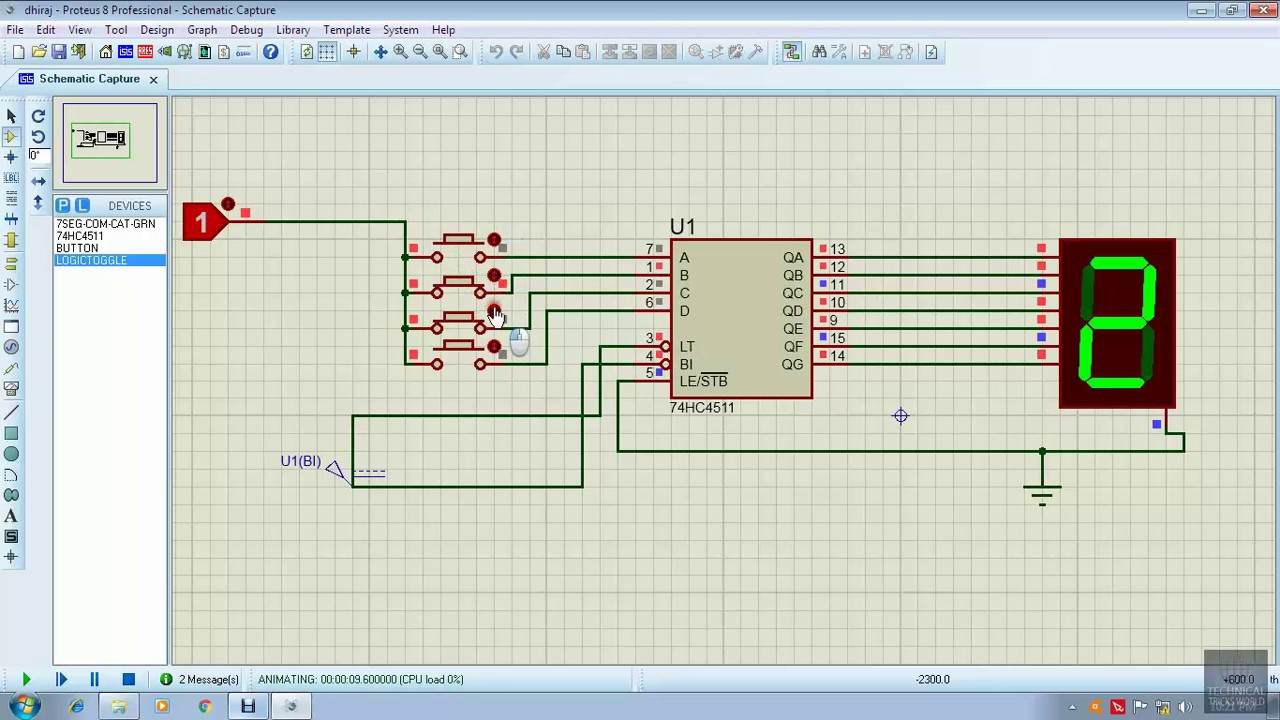 Driving A 7segment Display Using 4511 Vitorfla59 T Mihai 555 Timer And 4017 Decade Counter Traffic Lights Circuit Proteus 8 0 Bcd To 7 Segment Decoder In Simulation
