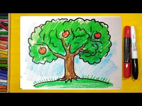 Как нарисовать яблоню осенью