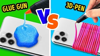 GLUE GUN VS 3D-PEN || Ultimate Lifehack Battle Between a Hot Glue Gun and a 3D-Pen