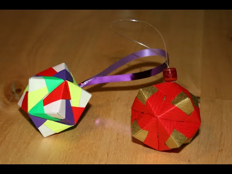 origami boule de no l christmas ornament senbazuru. Black Bedroom Furniture Sets. Home Design Ideas