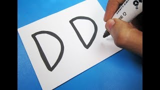 "How to turn Letter ""DD"" into a Cartoon DORAEMON ! Fun with Alphabets Drawing for kids"
