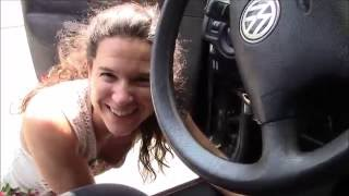 Brake light switch replacement by a French lady on VW Jetta
