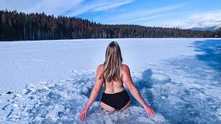 NORDIC ICE BATH - Off Grid Wilderness Living | Skinny Dip Ice Swim | OFF GRID DAY IN MY LIFE