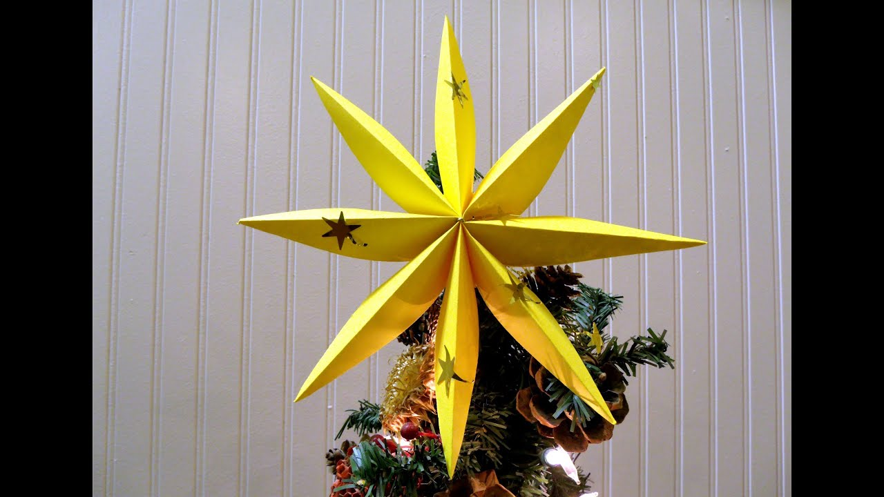 How To Fold A Star For Christmas Tree Or Decoration YouTube - Make A Christmas Star Tree Topper