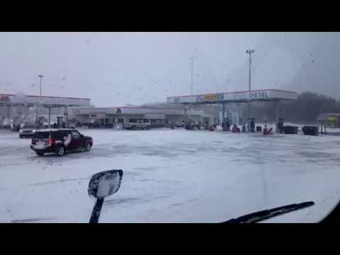 BigRigTravels LIVE! Waiting in snowstorm in Hasty, Minnesota-April 14, 2018