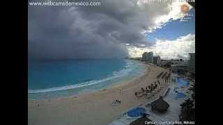 Cumulonimbus, heavy rain and shelf cloud visible from Cancún, Mexico (time-lapse) - Dec 12, 2012