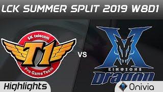 SKT vs KZ Highlights Game 1 LCK Summer 2019 W8D1 SK Telecom T1 vs KingZone DragonX Highlights by Oni